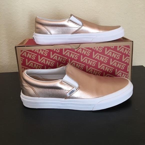 5154b8a880a Vans metallic Rose Gold leather Shoes slip on
